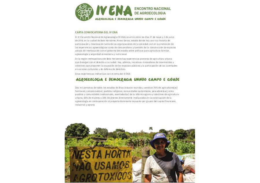 Carta Convocatória IV ENA – versão espanhol