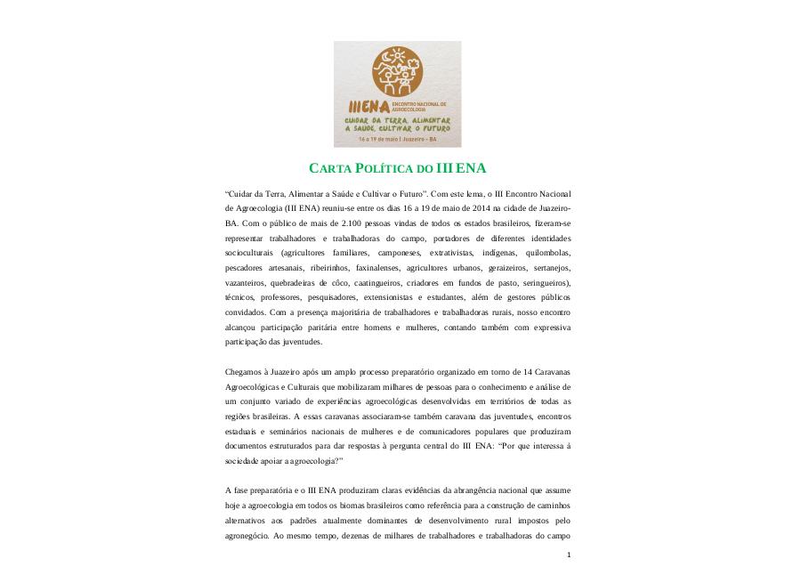 Carta Política III ENA