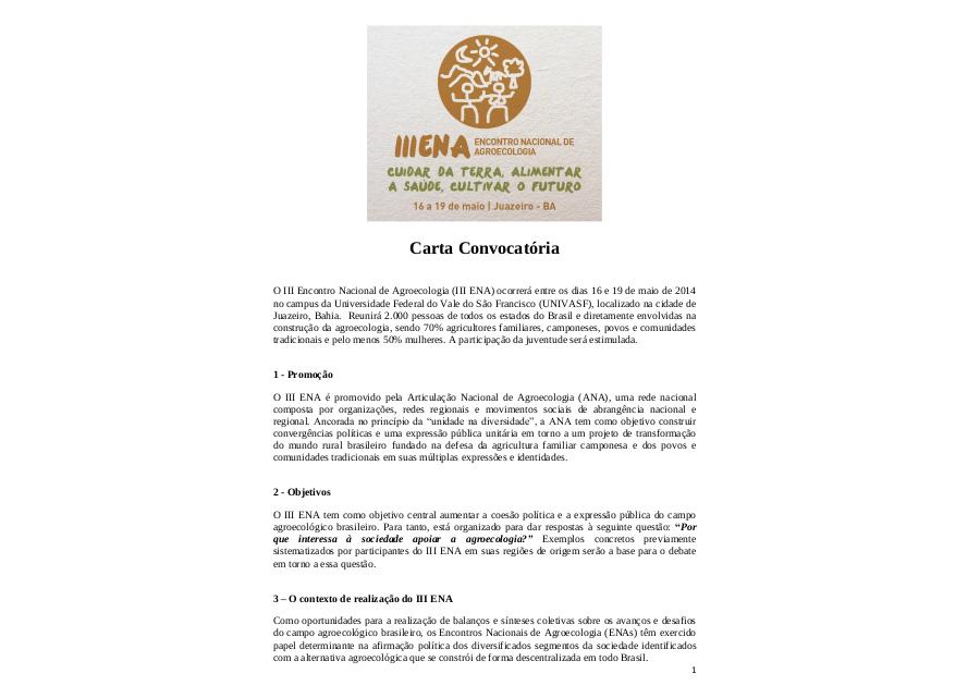 Carta Convocatória III ENA