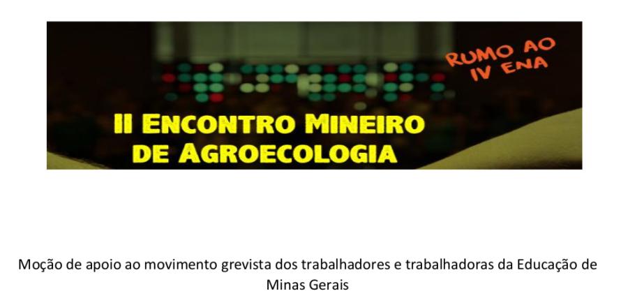 Moção de apoio ao movimento grevista dos trabalhadores e trabalhadoras da Educação de Minas Gerais