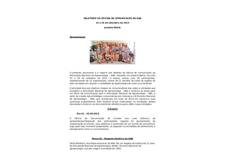 Oficina de Comunicação da ANA: relatório