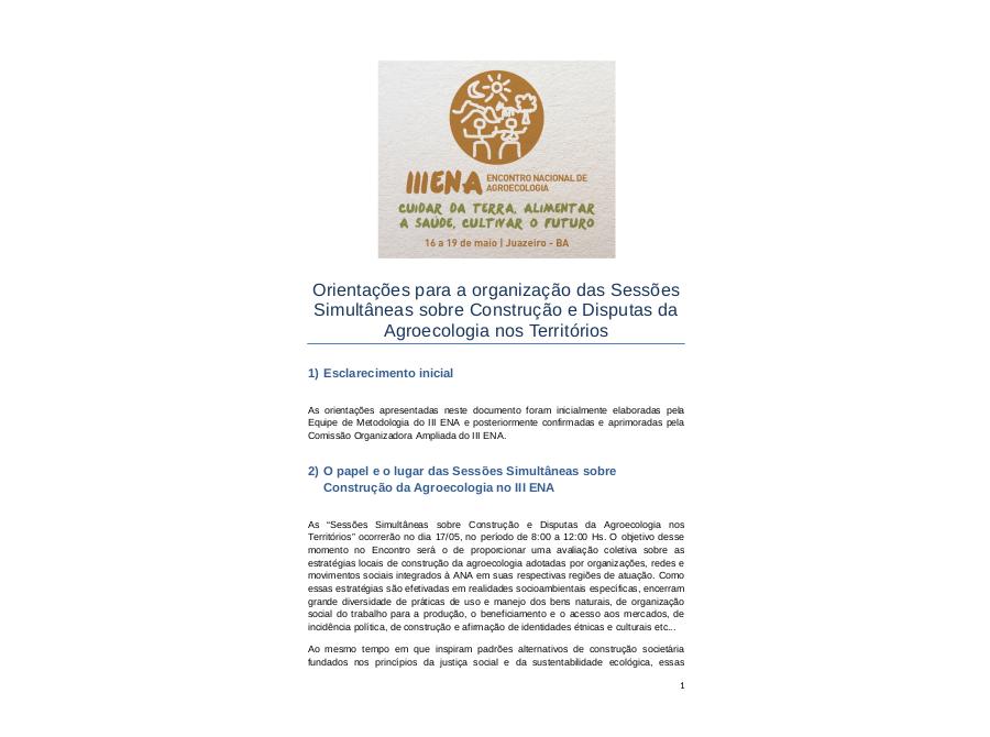 Orientações para a organização das sessões simultâneas sobre construção e disputas da Agroecologia nos Territórios