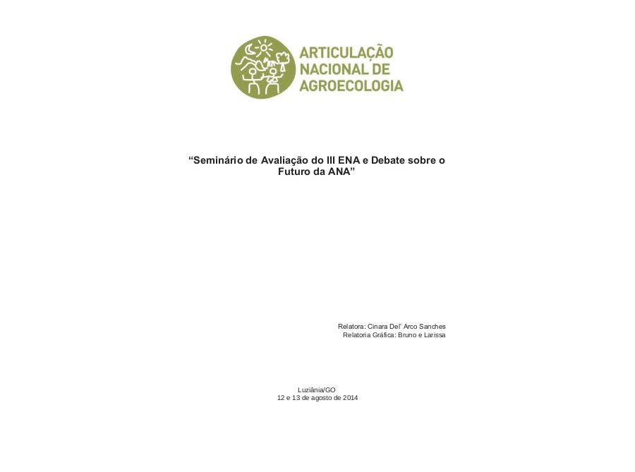 Relatório do Seminário de Avaliação do III ENA e Debate sobre o Futuro da ANA