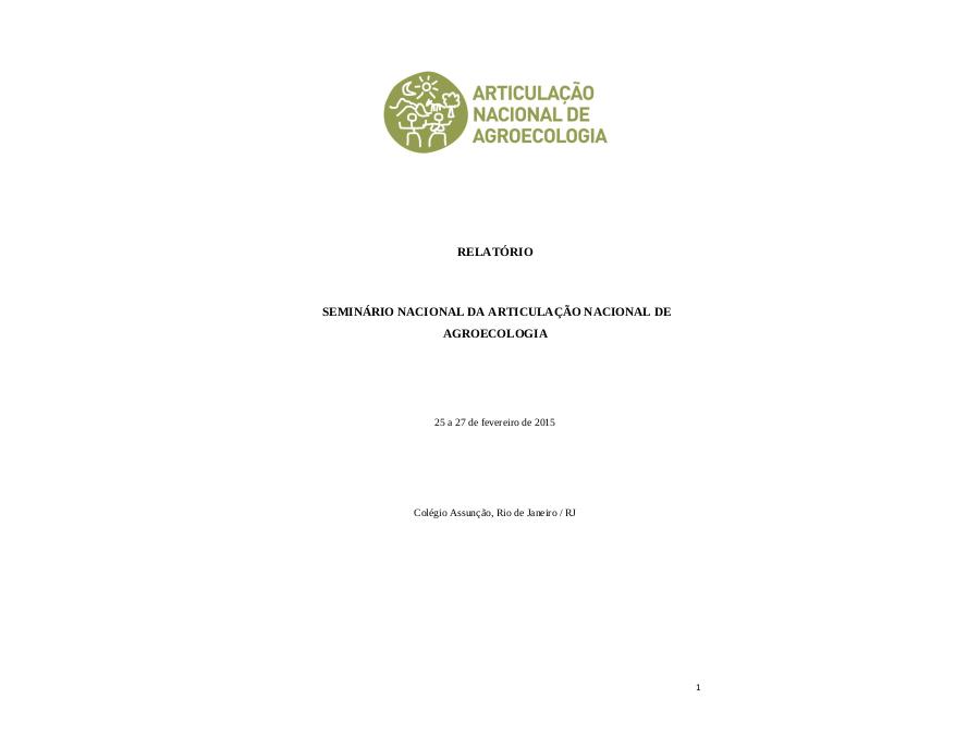 Relatório do Seminário Nacional da ANA